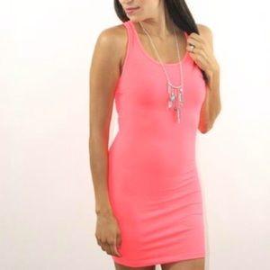 VS Pink Coral Body-con Skim Fitted Mini Tank Dress